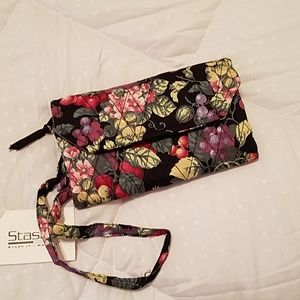 Stashe Floral Wallet With Strap ~New